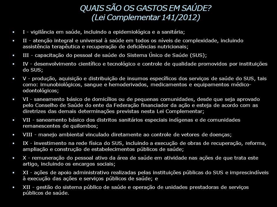 QUAIS SÃO OS GASTOS EM SAÚDE (Lei Complementar 141/2012)