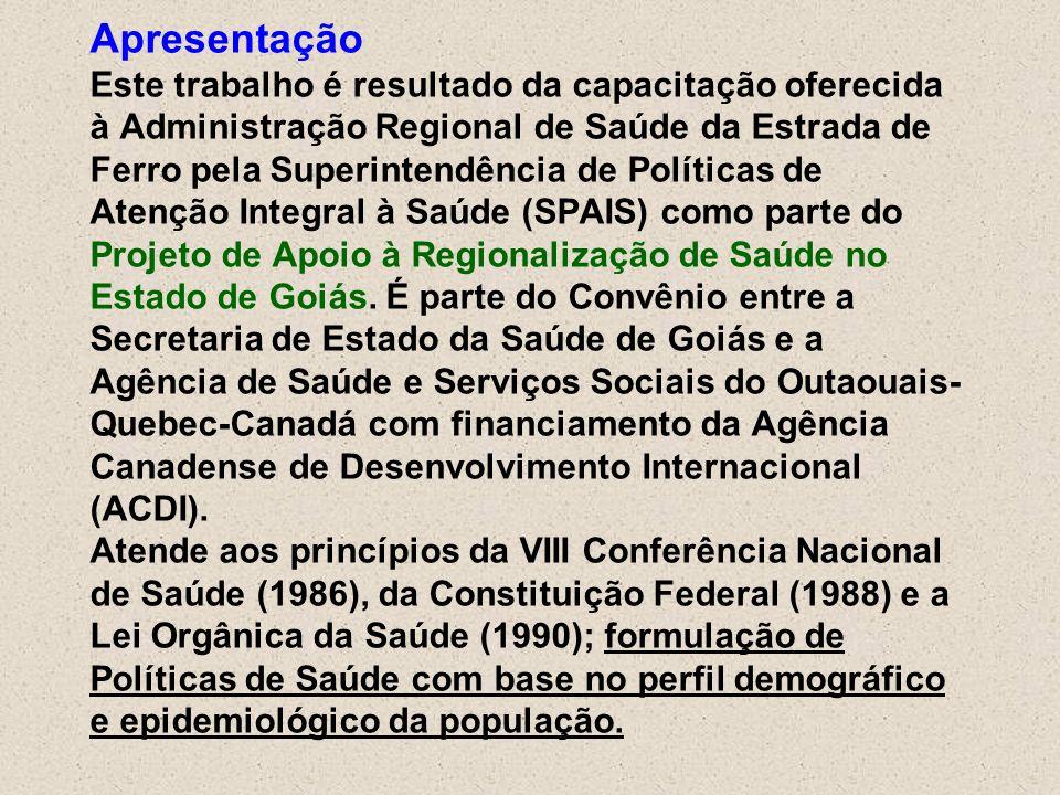 Apresentação Este trabalho é resultado da capacitação oferecida à Administração Regional de Saúde da Estrada de Ferro pela Superintendência de Políticas de Atenção Integral à Saúde (SPAIS) como parte do Projeto de Apoio à Regionalização de Saúde no Estado de Goiás.