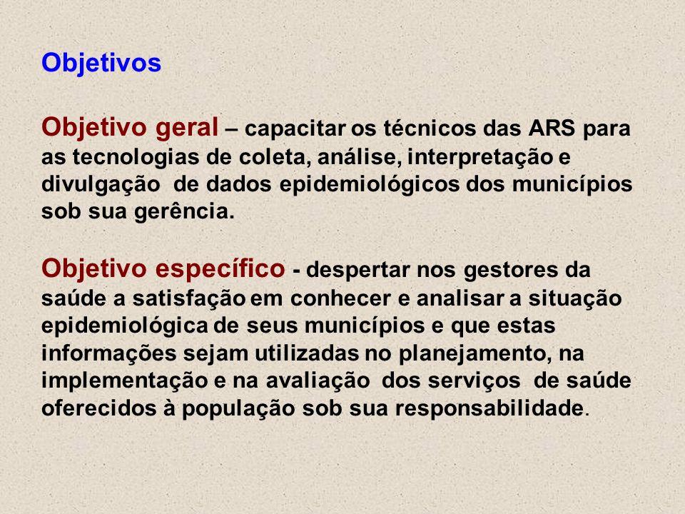 Objetivos Objetivo geral – capacitar os técnicos das ARS para as tecnologias de coleta, análise, interpretação e divulgação de dados epidemiológicos dos municípios sob sua gerência.