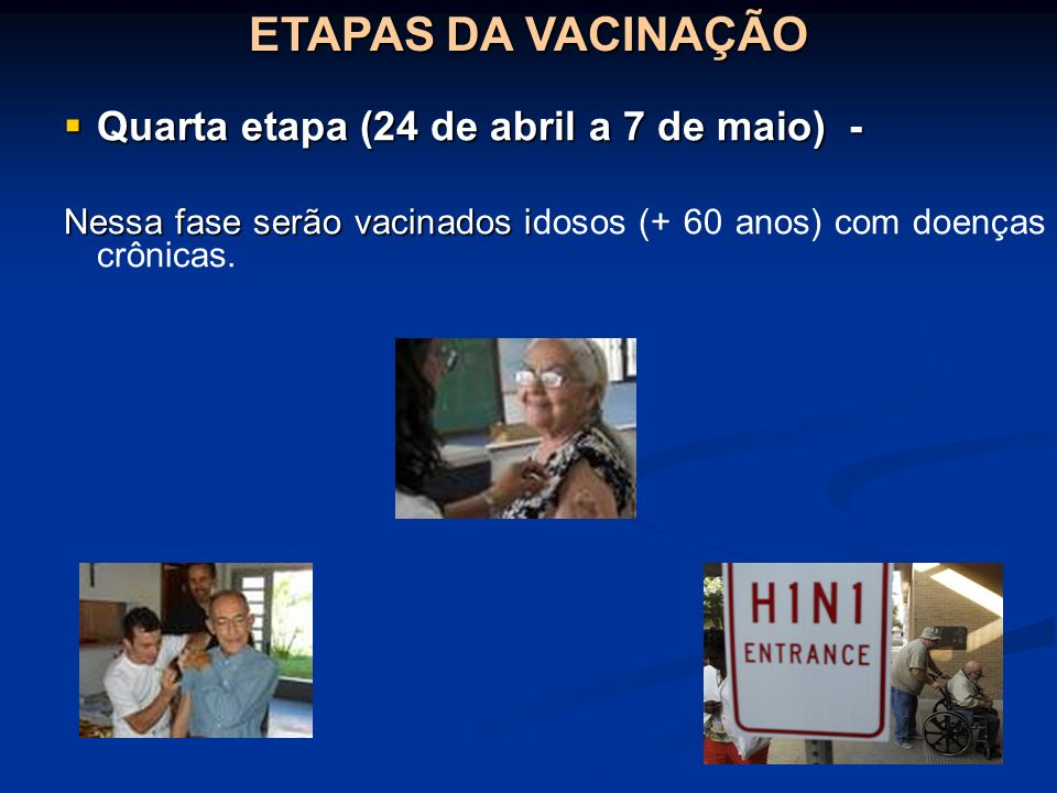 ETAPAS DA VACINAÇÃO Quarta etapa (24 de abril a 7 de maio) -