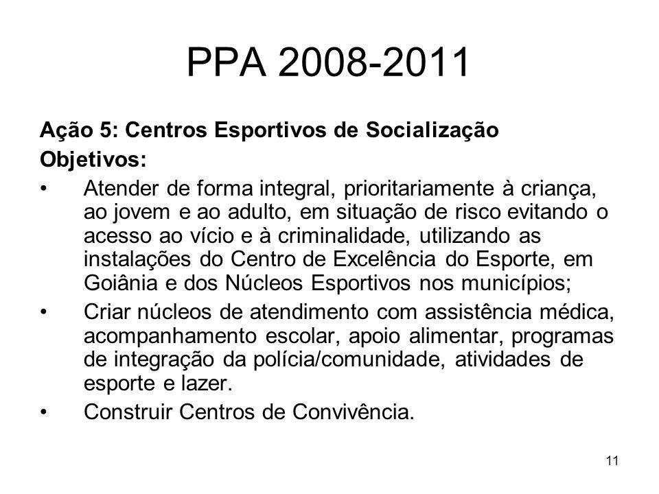 PPA 2008-2011 Ação 5: Centros Esportivos de Socialização Objetivos: