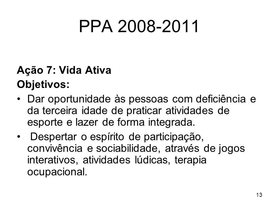 PPA 2008-2011 Ação 7: Vida Ativa Objetivos: