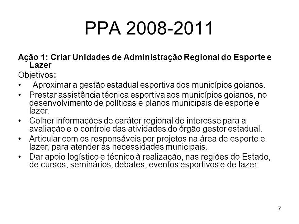 PPA 2008-2011 Ação 1: Criar Unidades de Administração Regional do Esporte e Lazer. Objetivos:
