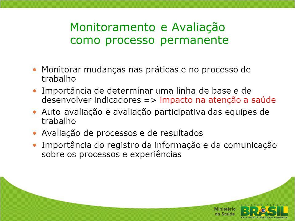 Monitoramento e Avaliação como processo permanente