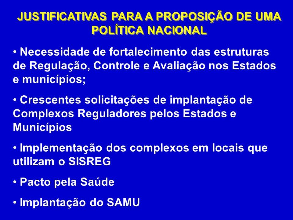 JUSTIFICATIVAS PARA A PROPOSIÇÃO DE UMA POLÍTICA NACIONAL