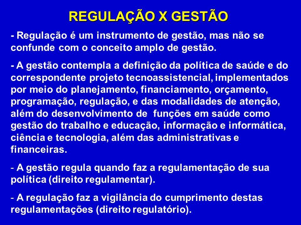 REGULAÇÃO X GESTÃO - Regulação é um instrumento de gestão, mas não se confunde com o conceito amplo de gestão.