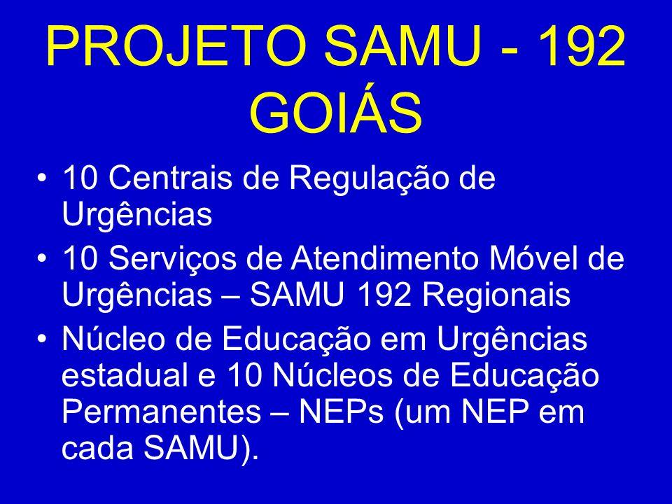 PROJETO SAMU - 192 GOIÁS 10 Centrais de Regulação de Urgências