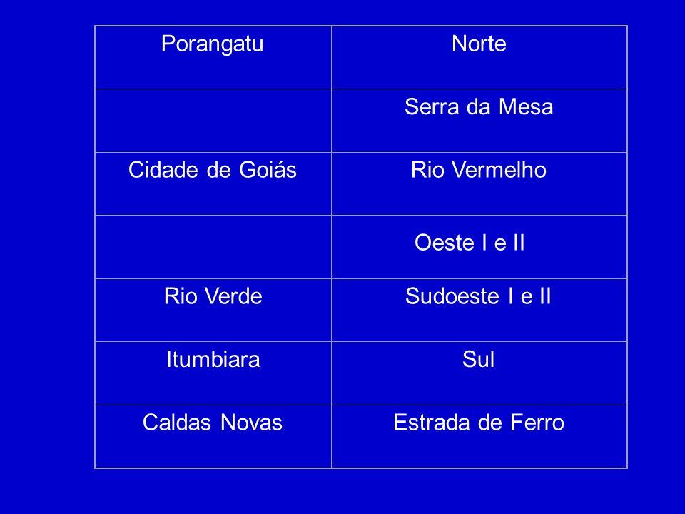Porangatu Norte. Serra da Mesa. Cidade de Goiás. Rio Vermelho. Rio Verde. Sudoeste I e II. Itumbiara.