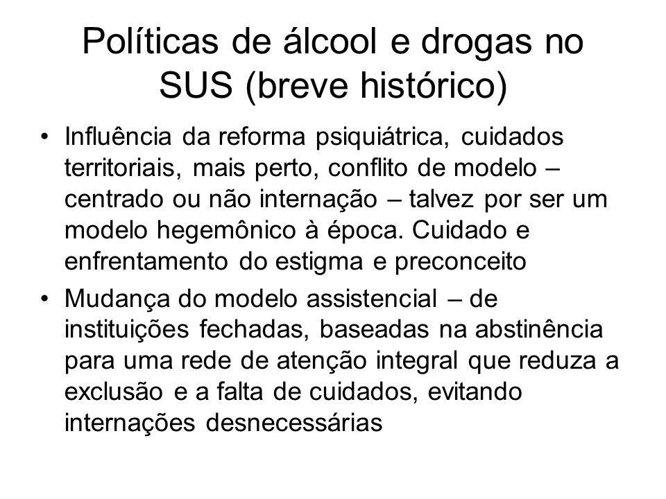 Políticas de álcool e drogas no SUS (breve histórico)