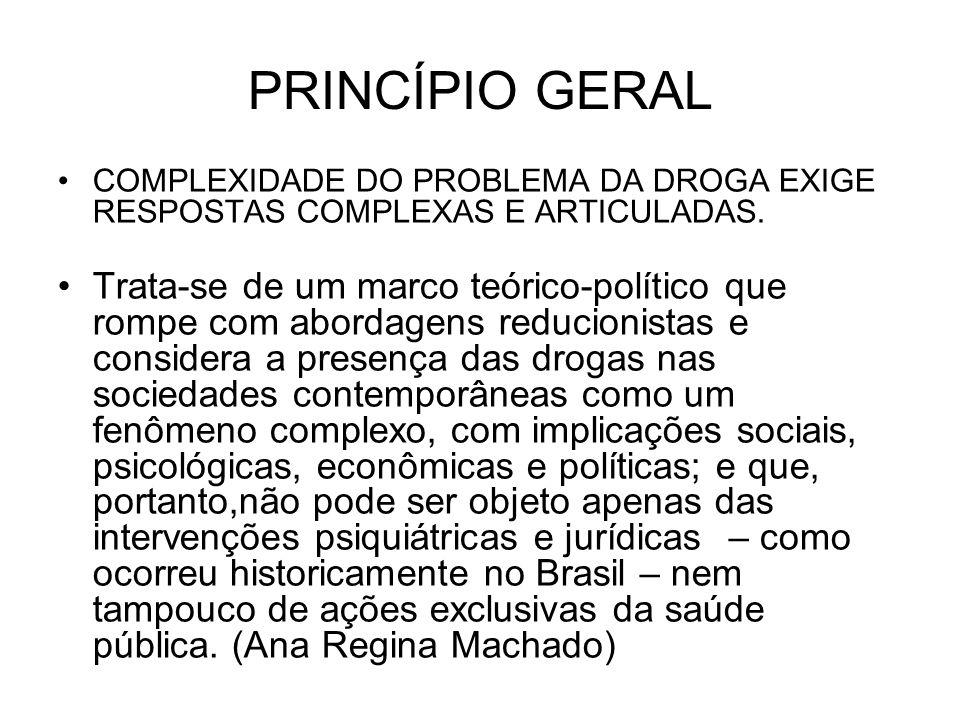 PRINCÍPIO GERAL COMPLEXIDADE DO PROBLEMA DA DROGA EXIGE RESPOSTAS COMPLEXAS E ARTICULADAS.