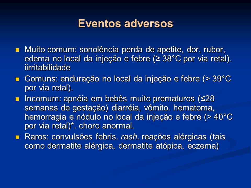 Eventos adversos Muito comum: sonolência perda de apetite, dor, rubor, edema no local da injeção e febre (≥ 38°C por via retal). iirritabilidade.