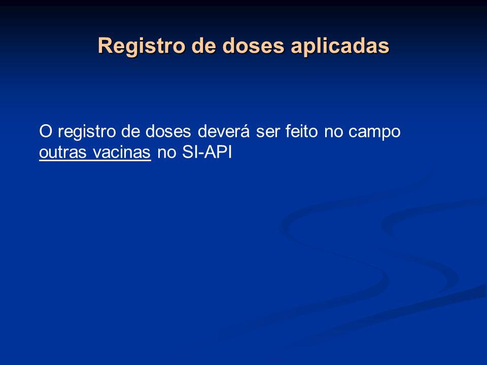 Registro de doses aplicadas