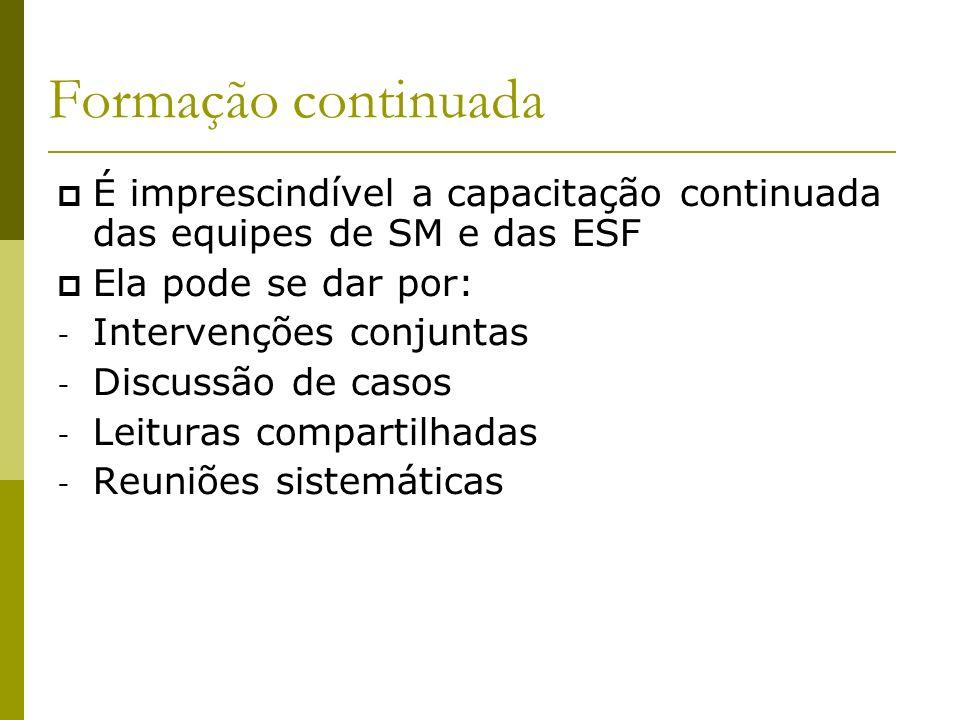 09/20/09 Formação continuada. É imprescindível a capacitação continuada das equipes de SM e das ESF.