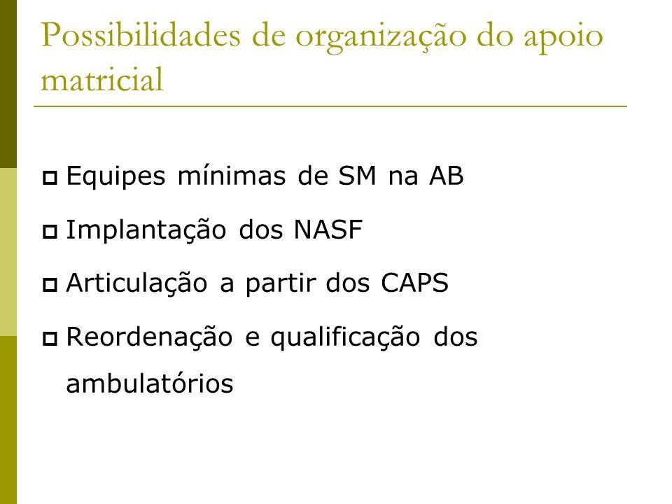 Possibilidades de organização do apoio matricial