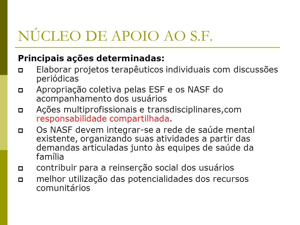 NÚCLEO DE APOIO AO S.F. Principais ações determinadas: