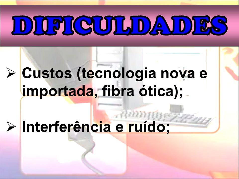 Custos (tecnologia nova e importada, fibra ótica);