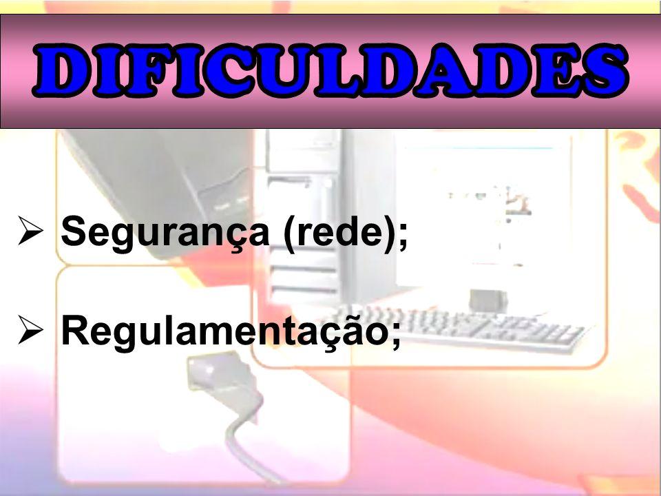 DIFICULDADES Segurança (rede); Regulamentação;