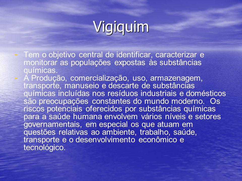 Vigiquim Tem o objetivo central de identificar, caracterizar e monitorar as populações expostas às substâncias químicas.