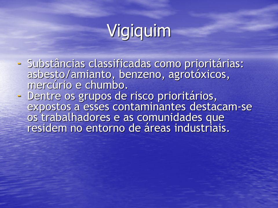 Vigiquim Substâncias classificadas como prioritárias: asbesto/amianto, benzeno, agrotóxicos, mercúrio e chumbo.