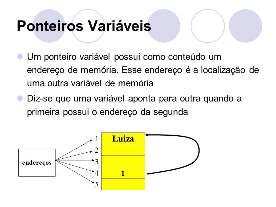 Ponteiros Variáveis Um ponteiro variável possui como conteúdo um endereço de memória. Esse endereço é a localização de uma outra variável de memória.