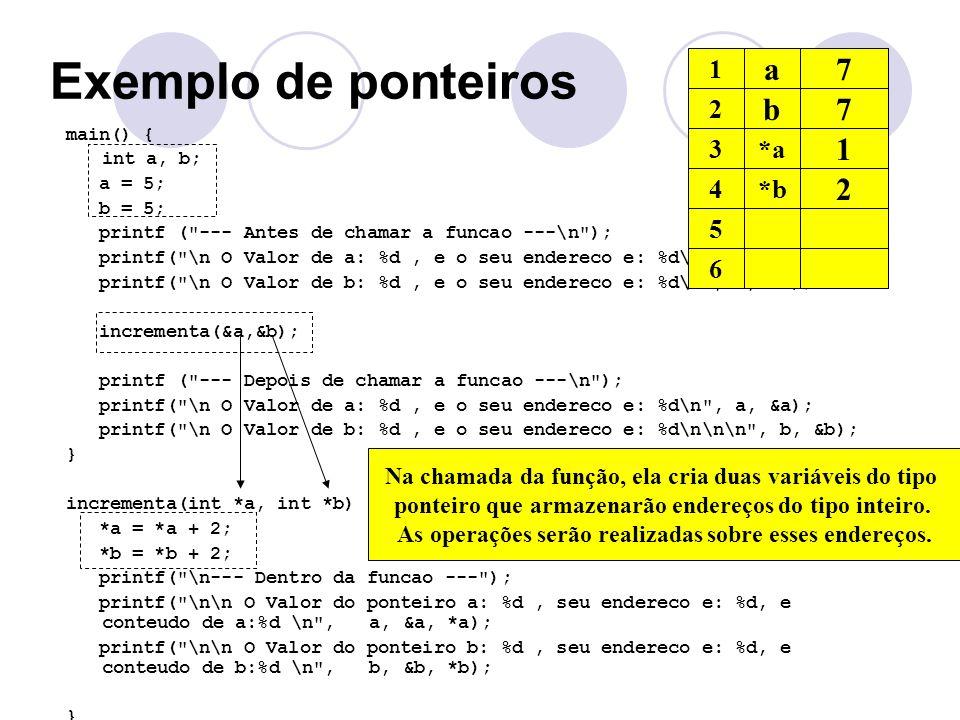Exemplo de ponteiros a 5 7 b 5 7 1 2 1 2 3 *a 4 *b 5 6