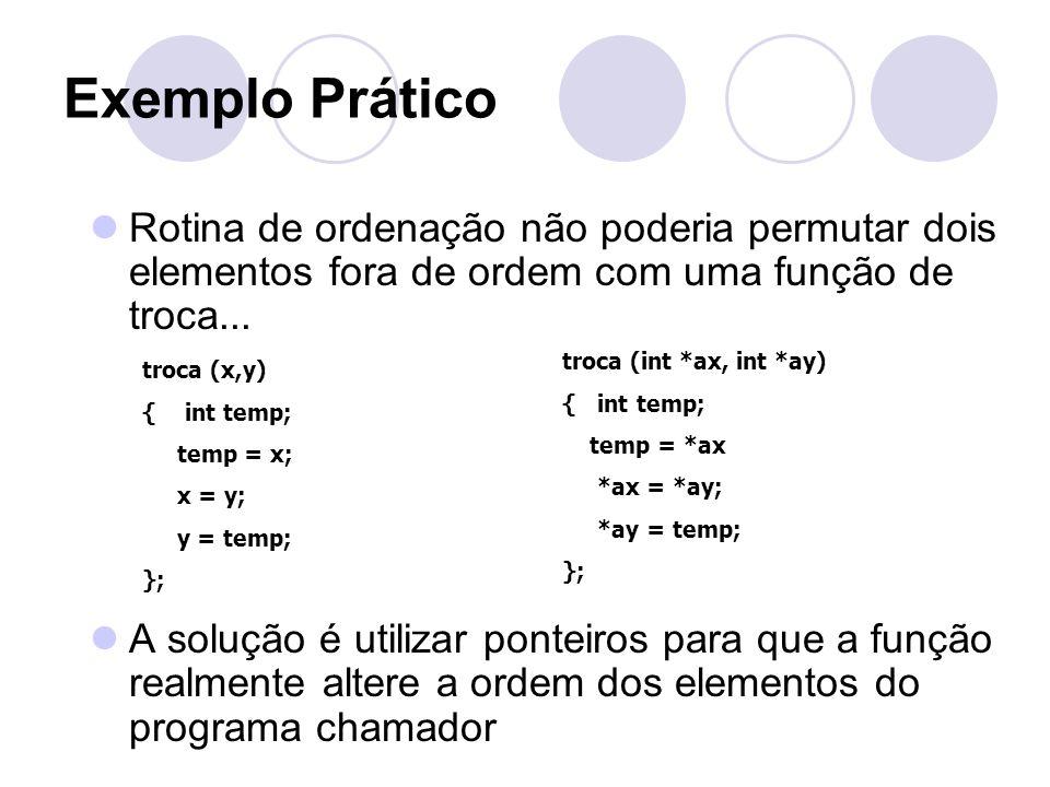 Exemplo Prático Rotina de ordenação não poderia permutar dois elementos fora de ordem com uma função de troca...