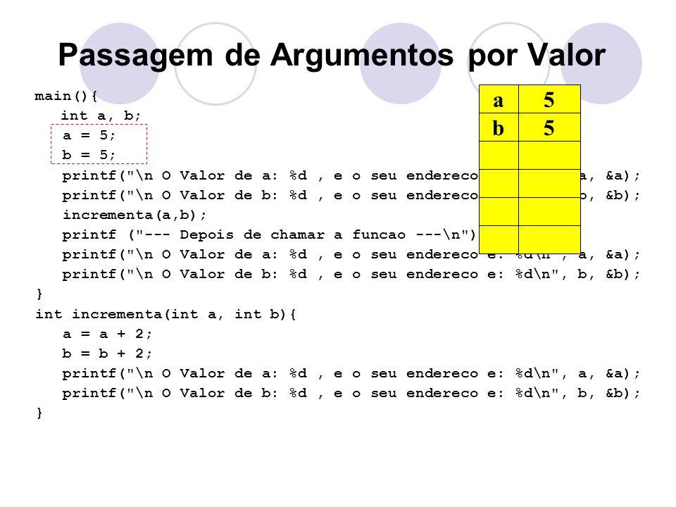 Passagem de Argumentos por Valor