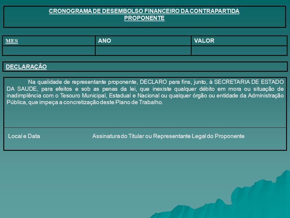 CRONOGRAMA DE DESEMBOLSO FINANCEIRO DA CONTRAPARTIDA