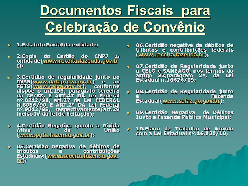 Documentos Fiscais para Celebração de Convênio