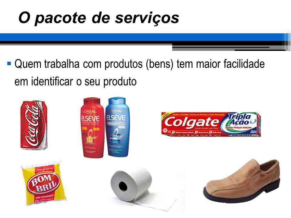 O pacote de serviços Quem trabalha com produtos (bens) tem maior facilidade em identificar o seu produto.
