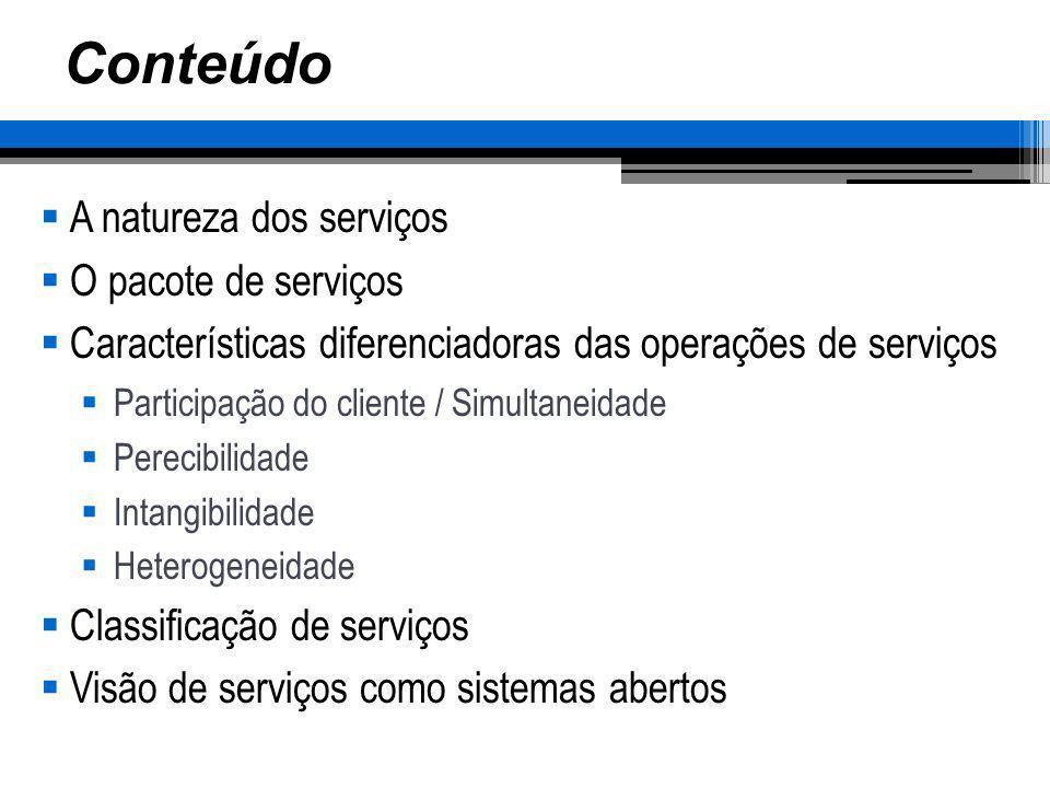 Conteúdo A natureza dos serviços O pacote de serviços