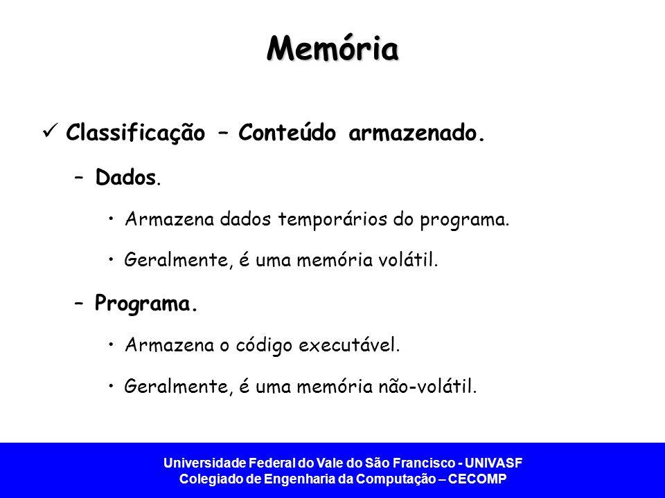 Memória Classificação – Conteúdo armazenado. Dados. Programa.