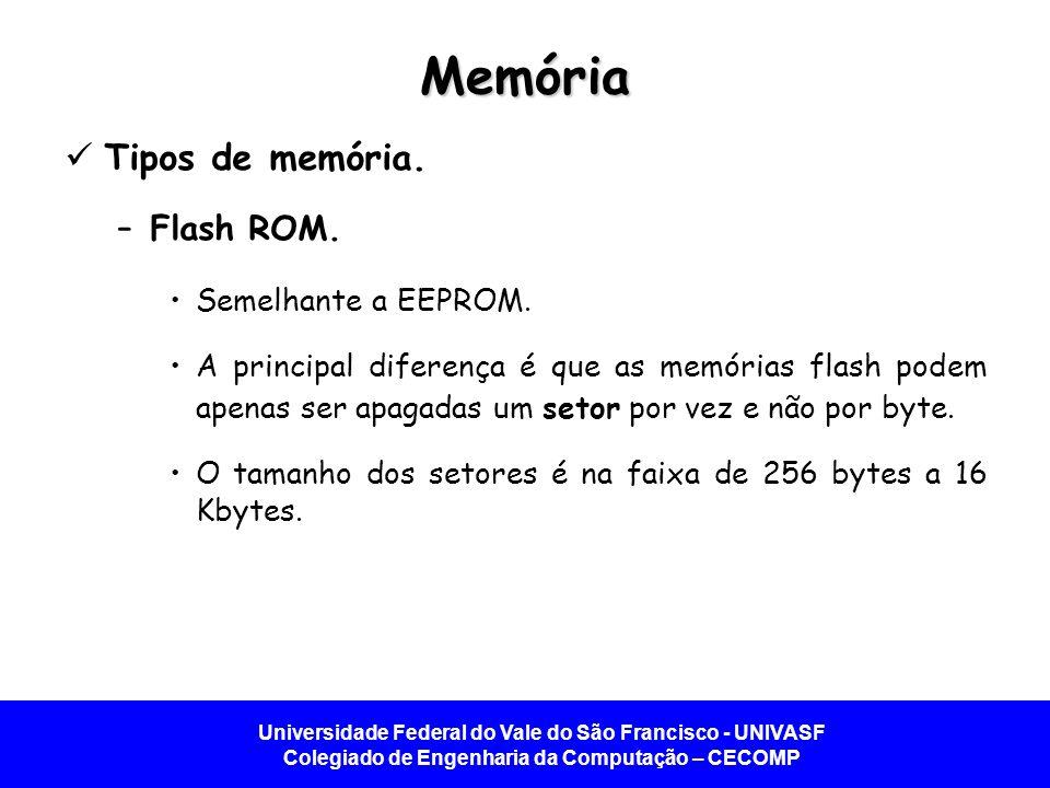 Memória Tipos de memória. Flash ROM. Semelhante a EEPROM.