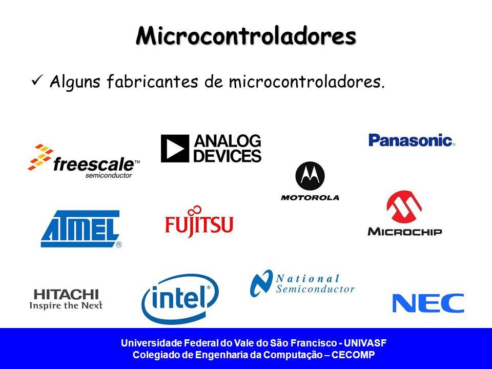 Microcontroladores Alguns fabricantes de microcontroladores.
