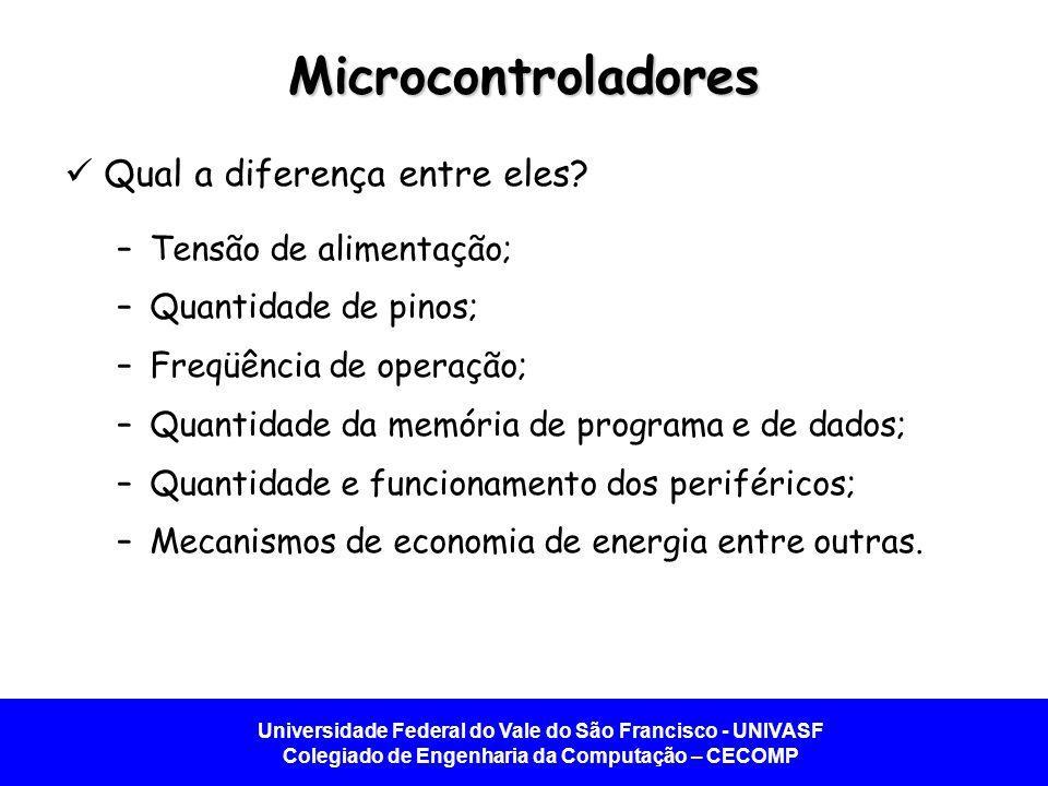 Microcontroladores Qual a diferença entre eles Tensão de alimentação;