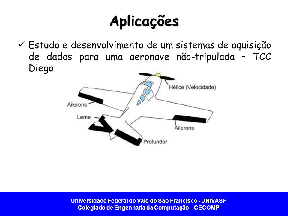 Aplicações Estudo e desenvolvimento de um sistemas de aquisição de dados para uma aeronave não-tripulada – TCC Diego.