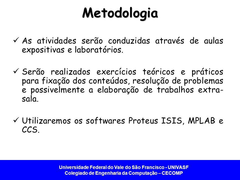 Metodologia As atividades serão conduzidas através de aulas expositivas e laboratórios.