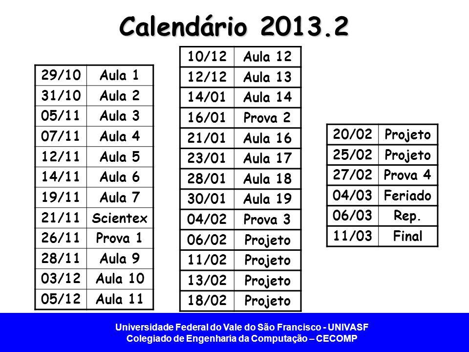 Calendário 2013.2 10/12 Aula 12 12/12 Aula 13 14/01 Aula 14 16/01