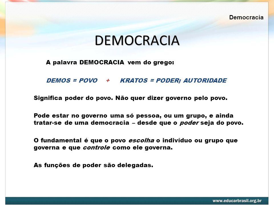 DEMOCRACIA A palavra DEMOCRACIA vem do grego: Democracia
