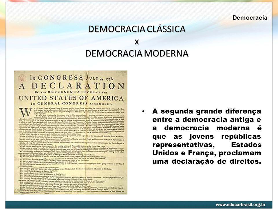 DEMOCRACIA CLÁSSICA x DEMOCRACIA MODERNA