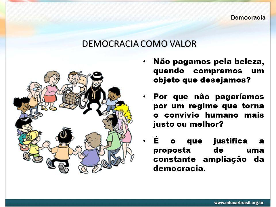 Democracia DEMOCRACIA COMO VALOR. Não pagamos pela beleza, quando compramos um objeto que desejamos