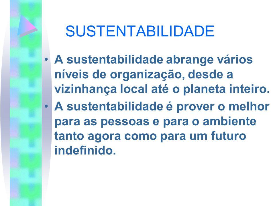 SUSTENTABILIDADEA sustentabilidade abrange vários níveis de organização, desde a vizinhança local até o planeta inteiro.