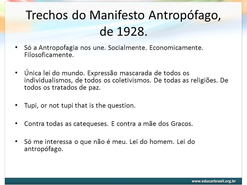 Trechos do Manifesto Antropófago, de 1928.