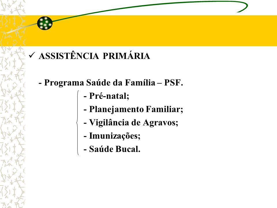 ASSISTÊNCIA PRIMÁRIA - Programa Saúde da Família – PSF. - Pré-natal; - Planejamento Familiar; - Vigilância de Agravos;