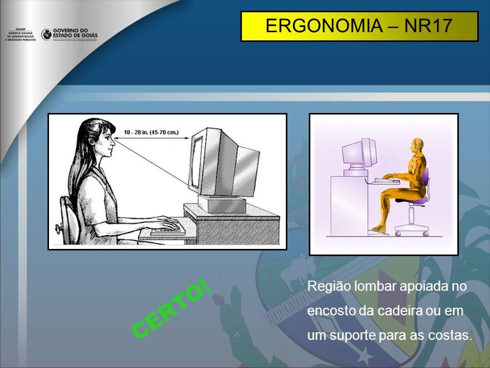 ERGONOMIA – NR17 Região lombar apoiada no encosto da cadeira ou em um suporte para as costas.
