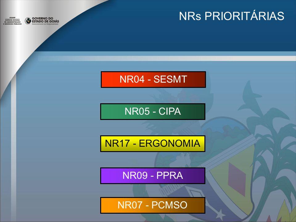 NRs PRIORITÁRIAS NR04 - SESMT NR05 - CIPA NR17 - ERGONOMIA NR09 - PPRA