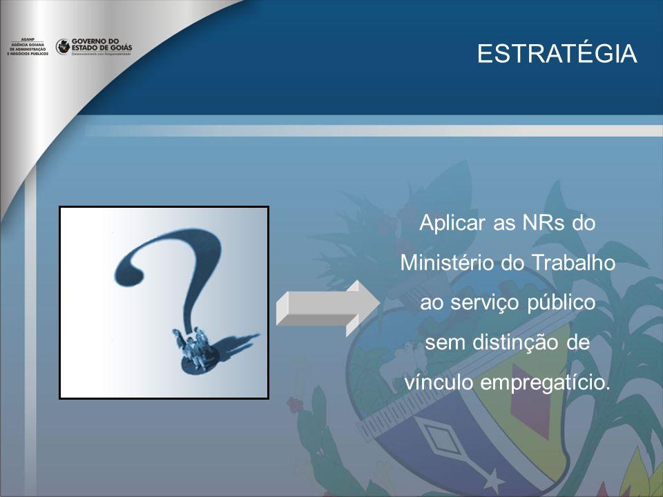ESTRATÉGIA Aplicar as NRs do Ministério do Trabalho ao serviço público sem distinção de vínculo empregatício.