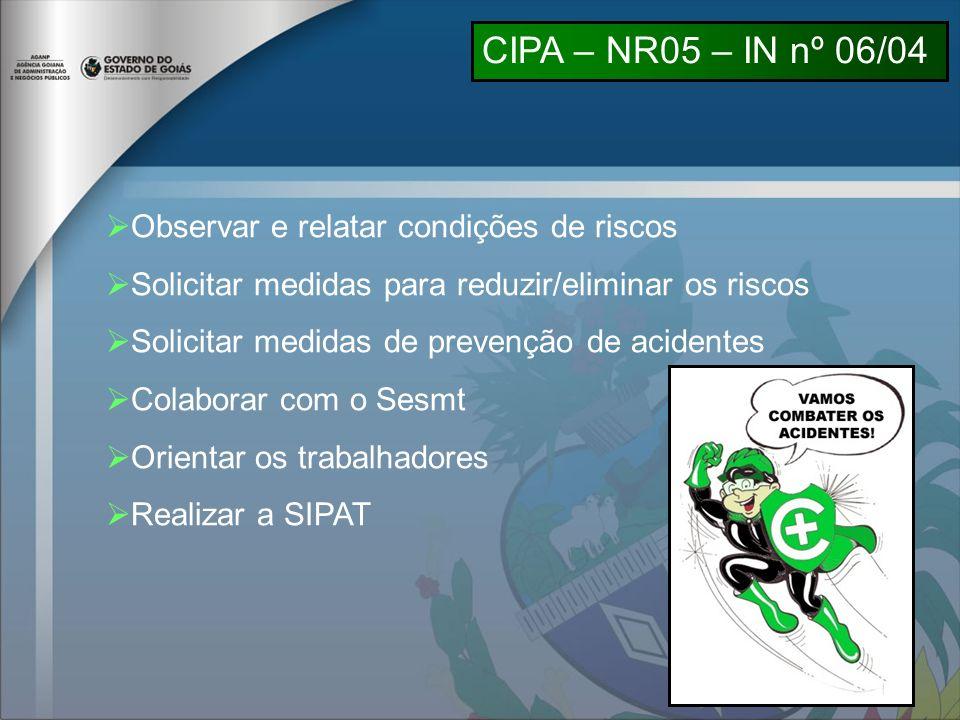 CIPA – NR05 – IN nº 06/04 Observar e relatar condições de riscos
