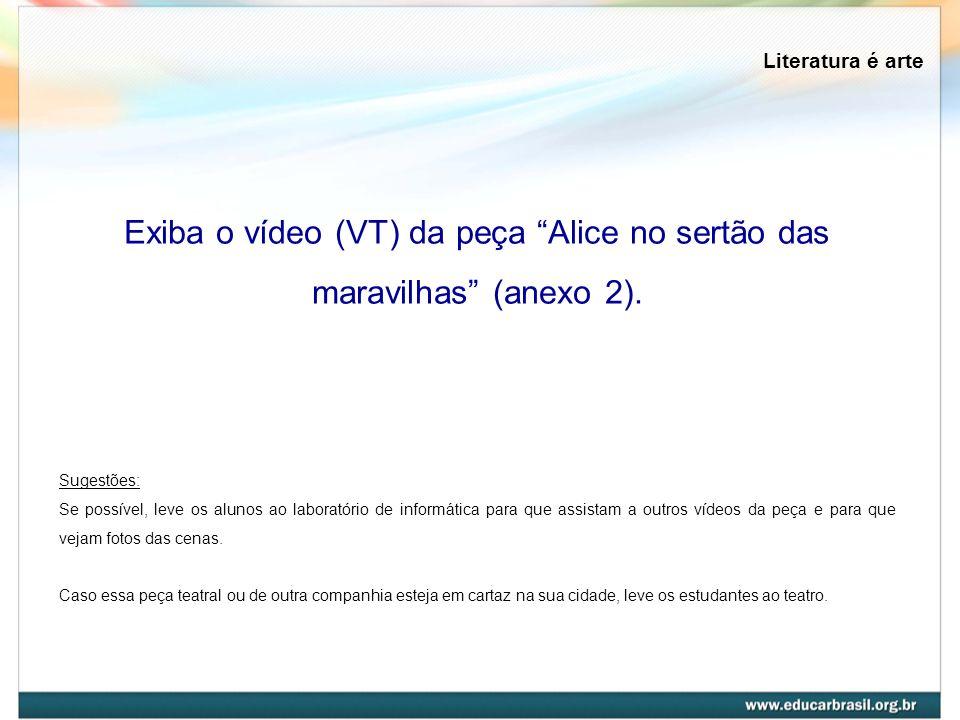 Exiba o vídeo (VT) da peça Alice no sertão das maravilhas (anexo 2).
