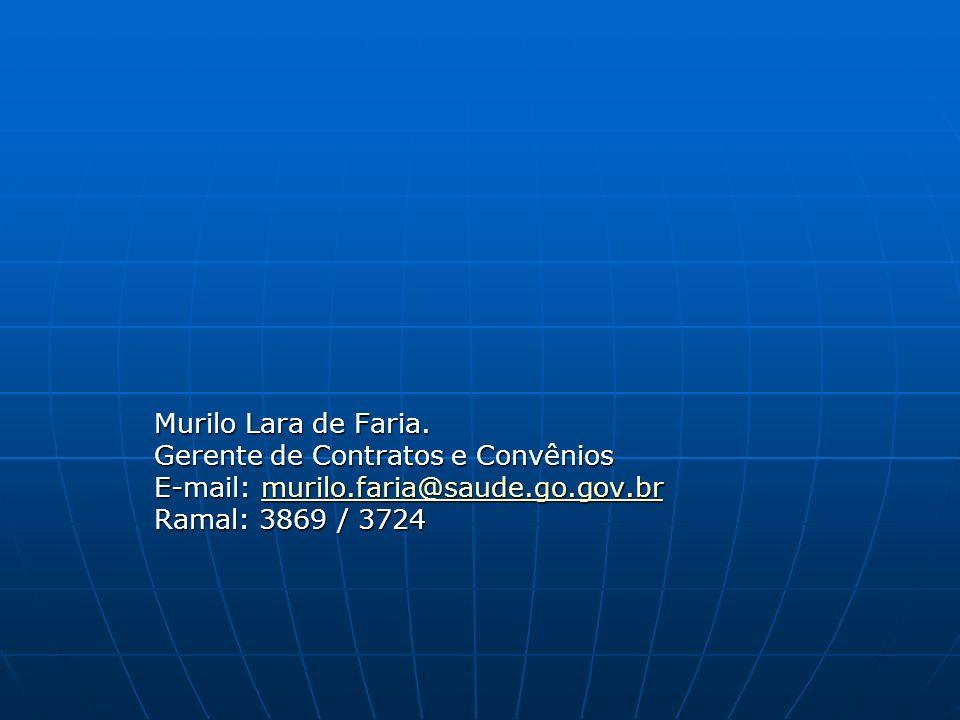 Murilo Lara de Faria. Gerente de Contratos e Convênios.